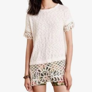 Anthropology Saturday/Sunday cream tunic lace top
